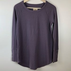 Chaser Waffle Knit Thermal Long Sleeve Top Purple